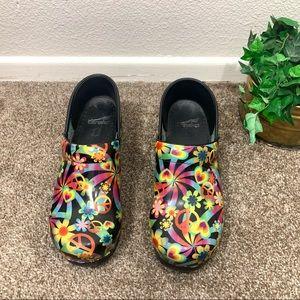 Dansko Clogs Shoes Peace Sign Flowers Hearts
